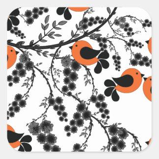 orange birds square sticker