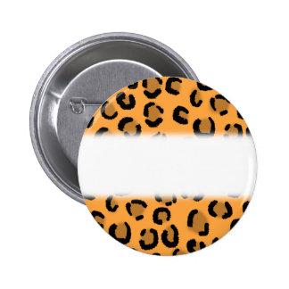 Orange, Black and Brown Leopard Print Pattern. 6 Cm Round Badge