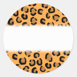 Orange, Black and Brown Leopard Print Pattern. Round Sticker