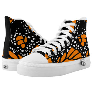 Orange, Black and White Abstract Monarch Wing Printed Shoes
