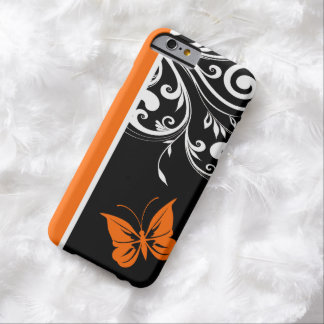 Orange Black and white Butterfly Flourish Barely There iPhone 6 Case