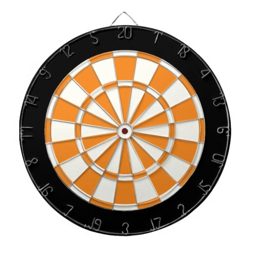 Orange Black And White Dartboard With Darts