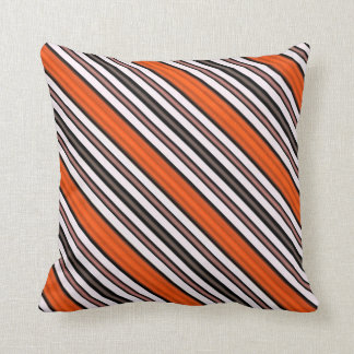 Orange, Black and White Diagonal Stripes Cushion