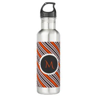 Orange, Black and White Diagonal Stripes Monogram 710 Ml Water Bottle