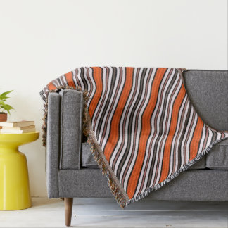 Orange, Black and White Diagonal Stripes Throw Blanket