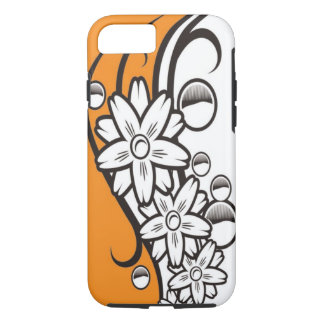 Orange Black And White Floral Pattern iPhone 7 Case