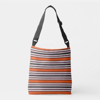 Orange Black and White Horizontal Stripes Pattern Crossbody Bag