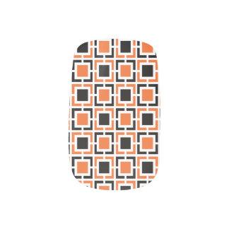 Orange, Black and White Lattice Pattern Nail Wrap