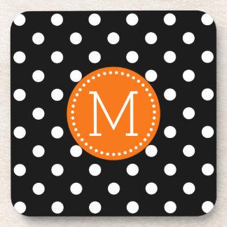 Orange < Black And White Polkadots Pattern Coaster