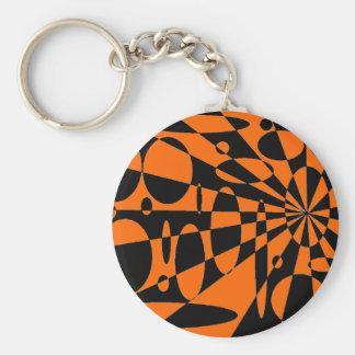 Orange & Black Basic Round Button Key Ring