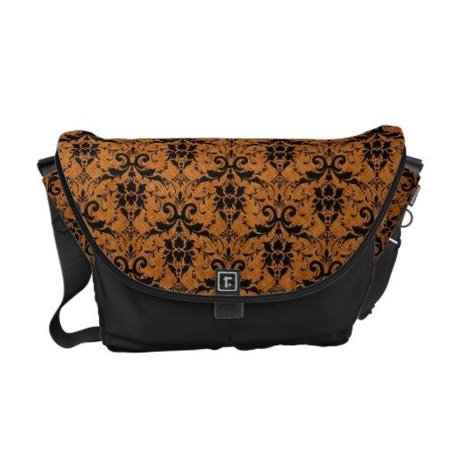 Orange & Black Damask Courier Bags