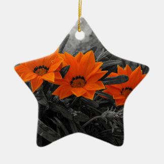 Orange & Black Flower Floral Photography Design Ceramic Star Decoration