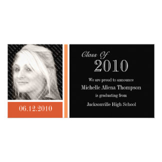 Orange & Black Graduation Announcement Photo Cards