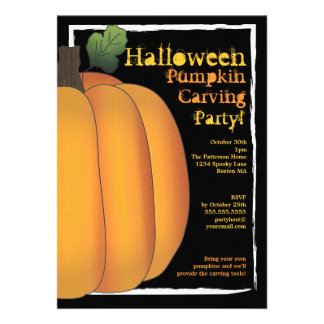 Orange Black Halloween Pumpkin Carving Party Personalized Invitations