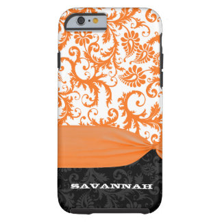 Orange & Black Personalized Damask iPhone Cover- Tough iPhone 6 Case