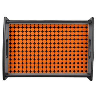 Orange black polka dot modern serving platter