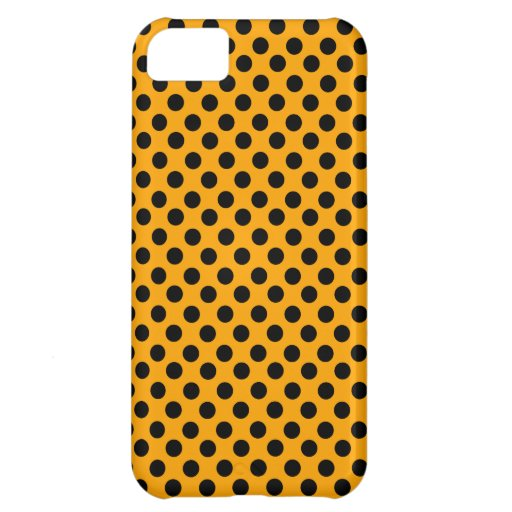 Orange & Black Polka Dots Cover For iPhone 5C