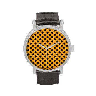 Orange Black Polka Dots Wristwatch