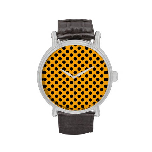 Orange & Black Polka Dots Wristwatch