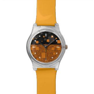 "Orange black ""smart"" watch girly glossy squares"