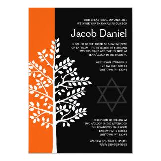 Orange Black Tree of Life Bar Mitzvah Invitations