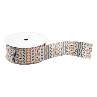 Orange Black White Aztec Tribal Geometric Pattern Grosgrain Ribbon