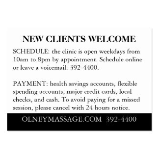 Orange, Black, White for Massage and Esthetics Pack Of Chubby Business Cards