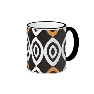 Orange Black White Modern Geometric Pattern Ringer Mug