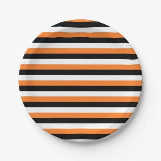 Orange, Black, White Stripes 7 Inch Paper Plate