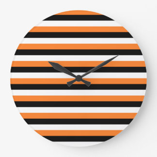 Orange, Black, White Stripes Clocks