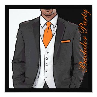 Orange black white tuxedo bachelor party invites