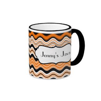 Orange, Black, White Wavy Stripes Personalized Mug
