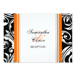 Orange black white wedding engagement personalized announcement