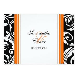 Orange black white wedding engagement personalized announcement