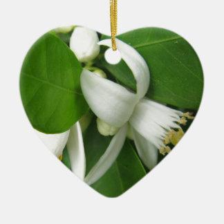 Orange Blossom Ceramic Heart Decoration