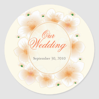 Orange Blossom Flowers Romantic Wedding Favor Round Sticker