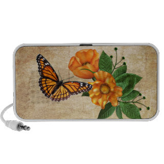 Orange Blossoms Butterfly Travel Speakers