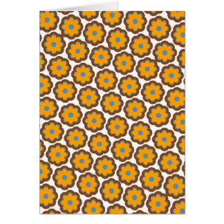 Orange blossoms - retro colors greeting card