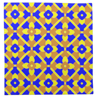 Orange Blue And Yellow Spanish Tile Pattern Napkin