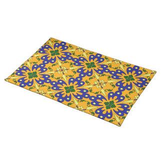 Orange Blue And Yellow Talavera Tile Pattern Placemat
