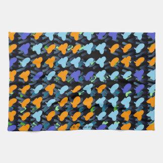 Orange Blue Birds Kitchen Towel