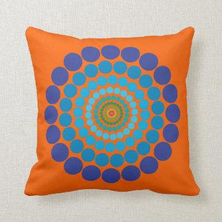 Orange  Blue Circle pattern pillow