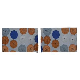orange blue gray abstract  umbrellas pillow cases