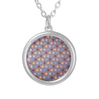 Orange blue maroon dots necklace