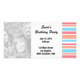 Orange Blue Striped Party Invites