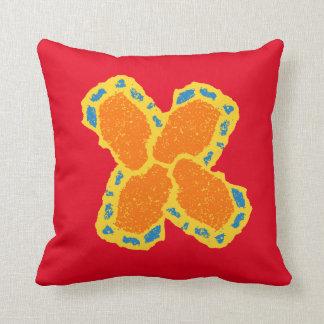 orange-blue-yellow cross design throw cushion