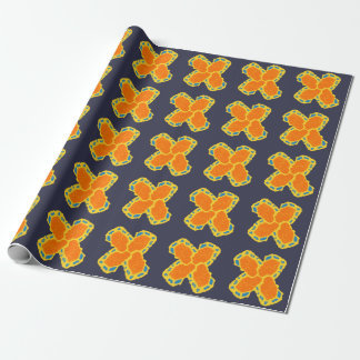 orange-blue-yellow cross design wrapping paper