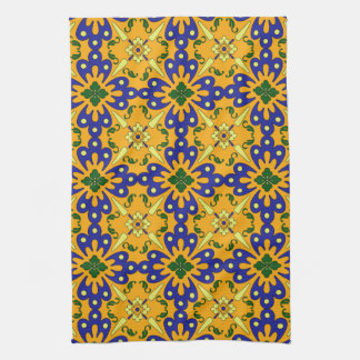 Orange Blue Yellow Spanish Tile Kitchen Towel