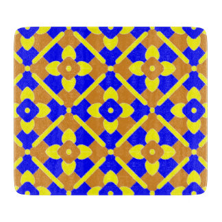 Orange Blue Yellow Spanish Tile Pattern Cutting Board