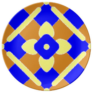 Orange Blue Yellow Spanish Tile Porcelain Plate
